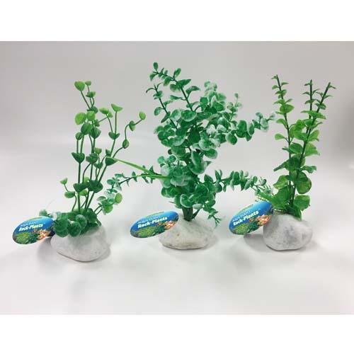 PENN PLAX Műnövények sziklán 20,3cm zöld növények