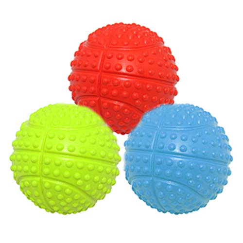 "LES FILOUS ""RUBBER BASKETBALL W/ SQUEAKER Dia.5.5cmRED, GREEN & BLUE"""