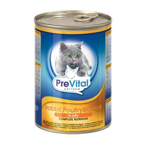 PreVital húsdarabkák aszpikban macskáknak 415g nyúl csirkével és sárgarépával
