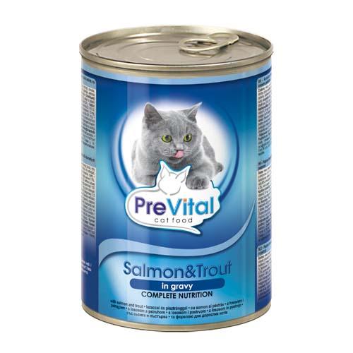 PreVital húsdarabkák szószban macskáknak 415g lazac és pisztráng
