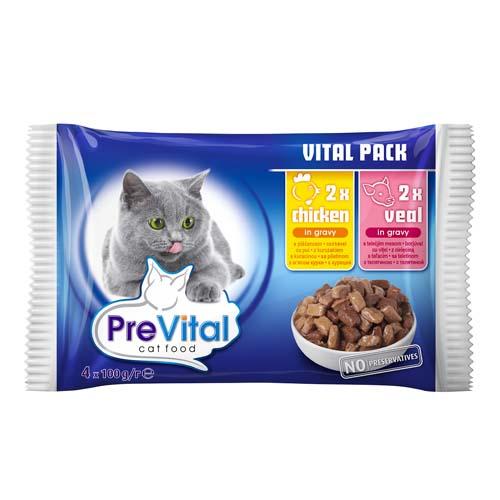 PreVital alutasak macskáknak 4x100g csirke és borjú szószban (pack)