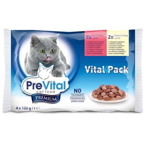 PreVital Premium alutasak macskáknak 4x100g marhahúsos nyul csirke és pulyka szoszban (pack)