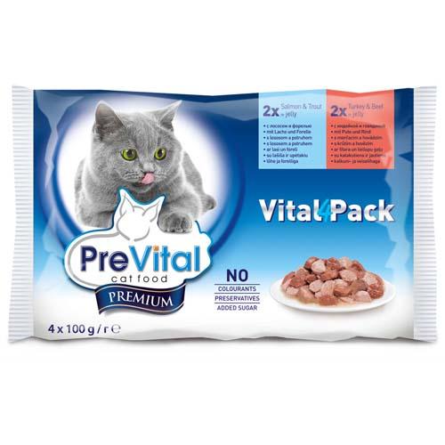 PreVital Premium alutasak macskáknak 4x100g lazac és pisztráng + polyka és marhahús aszpikban (vital pack)