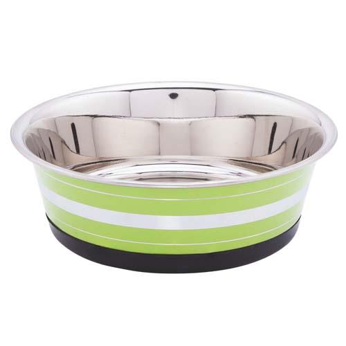 LES FILOUS Heavy Striped Bowls w/ Removable Rubber Ring, 1,20L, 17,5cm