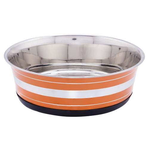 LES FILOUS Heavy Striped Bowls w/ Removable Rubber Ring, 1,90L, 21cm