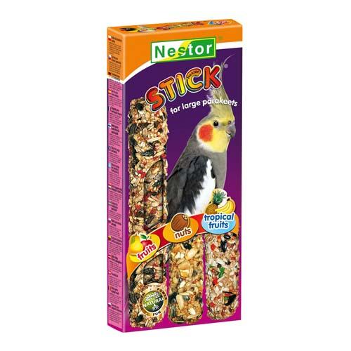 """NESTOR Rúd """"3 in 1"""" papagájnak gyümölcsök+ mogyoró+ trópikus gyümölcsök 3db"""