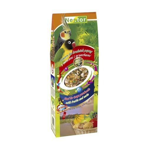 NESTOR Táp közepes testü papagájnak gyümölccsel és mogyoróval 700ml