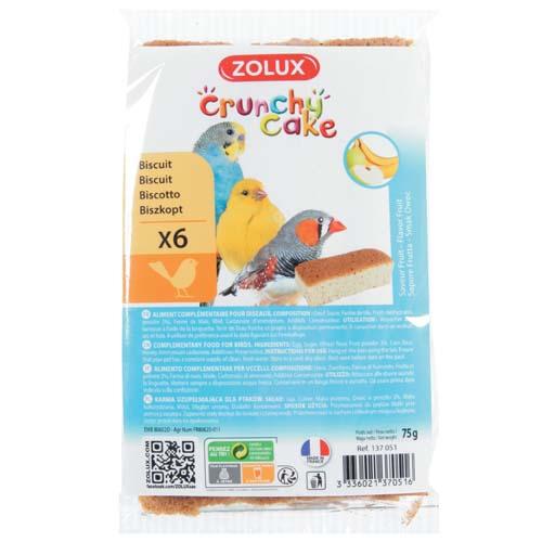 ZOLUX CRUNCHY CAKE BIRD biscuit alma/banán 6db 75g