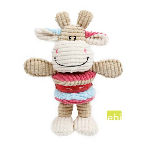 EBI DOG TOY COW PLAY ca.15,5x21cm with squeaker/TPR-ring