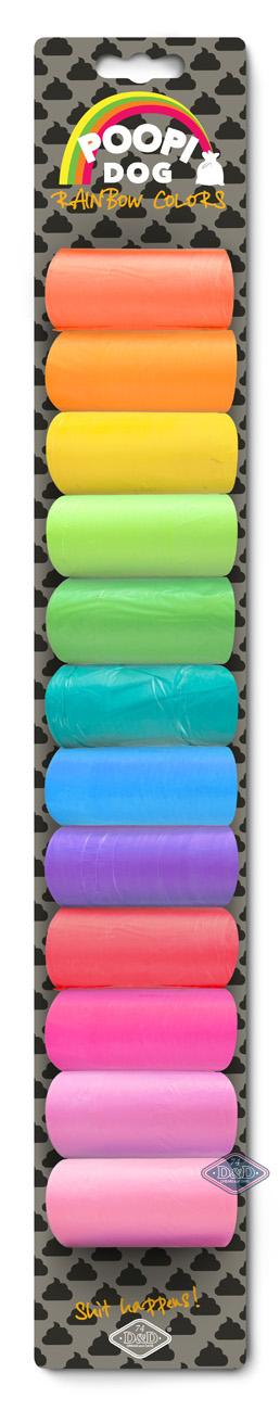 EBI D&D Kutyaürülék zacskók szívárvány szín 12 tekercs 15 zacskóval