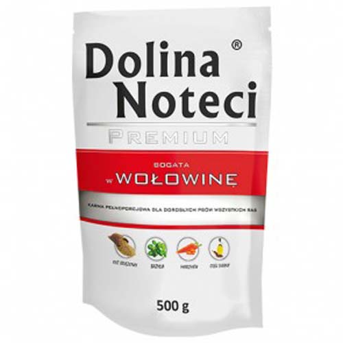 DOLINA NOTECI PREMIUM 500g hús zacskóban kutyáknak marhahússal