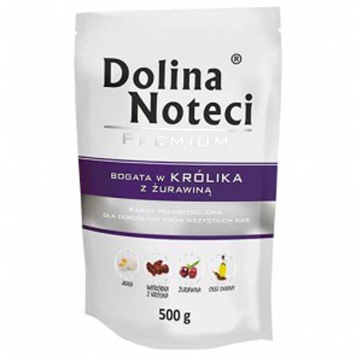 DOLINA NOTECI PREMIUM 500g hús zacskóban kutyáknak nyúl vörösáfonyával