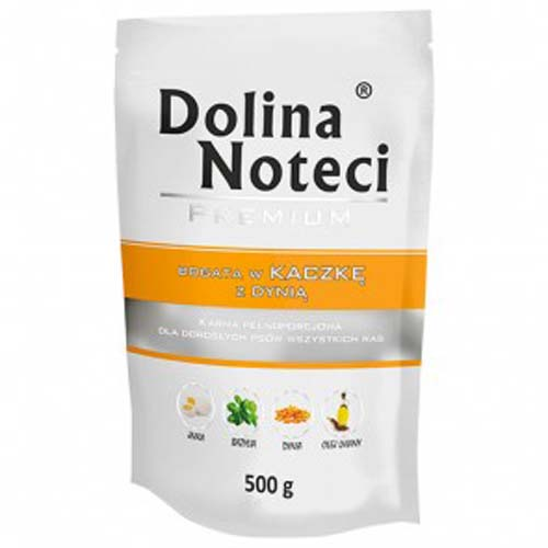 DOLINA NOTECI PREMIUM 500g hús zacskóban kutyáknak kacsa tökkel