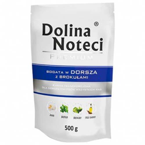 DOLINA NOTECI PREMIUM 500g hús zacskóban kutyáknak tőkehal brokkolival