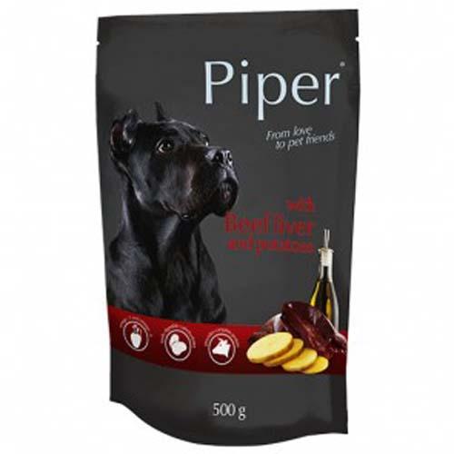 PIPER ADULT 500g hús zacskóban kutyáknak marhamájjal és burgonyával