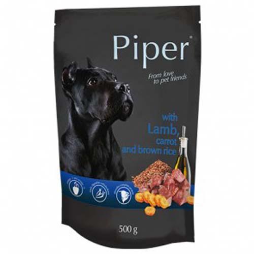 PIPER ADULT 500g hús zacskóban kutyáknak bárányhússal, sárgarépával és barna rizzsel