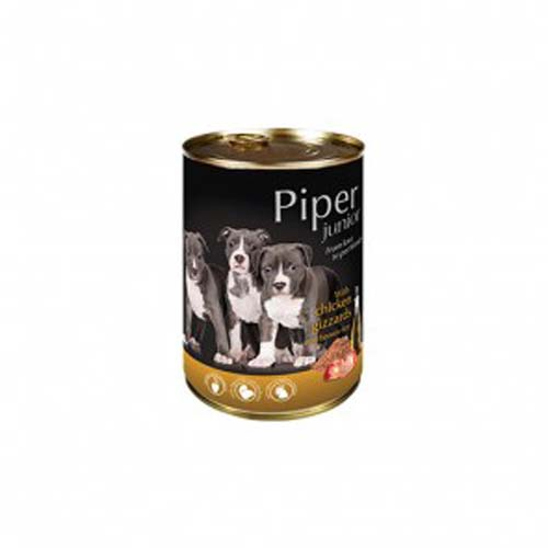 PIPER JUNIOR csirke gyomor és barna rizs 400g konzerv kölyökkutyáknak