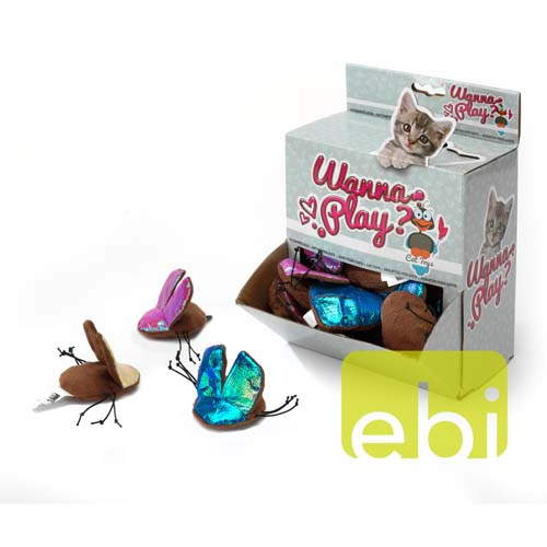 EBI CAT TOY WANNA PLAY BUG ca.7x6cm/crinkle paper/DISPLAY