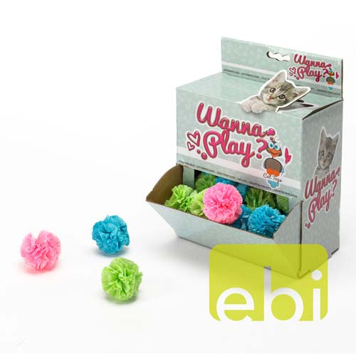 EBI CAT TOY WANNA PLAY PAPER BALL ca.5cm diameter/ASSORTED COLOR