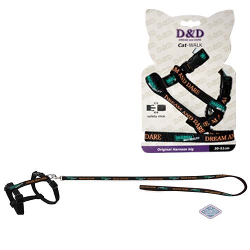 EBI D&D Cat-Walk 18-28cm/100cm S Original Harness black hám pórázzal