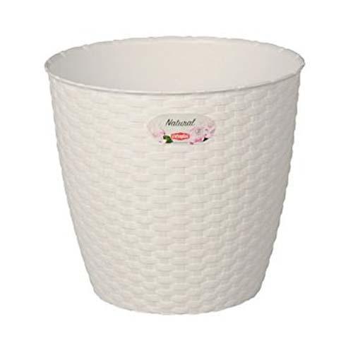 STEFANPLAST Fehér műanyag Rattan virágcserép átmérő 14cm 1,1l