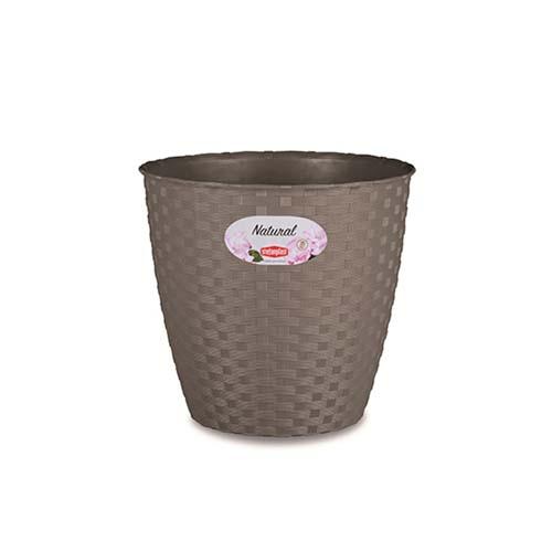 STEFANPLAST Szürke műanyag Rattan virágcserép átmérő 14cm 1,1l